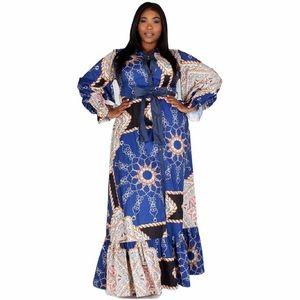 NWT Eien Smooth Sailing Ruffle Bottom Maxi Dress